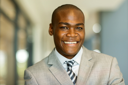 man close up: happy african man close up portrait