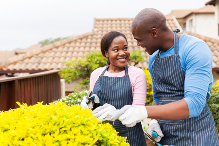 outdoors woman: lovely young african american couple gardening together at home Stock Photo
