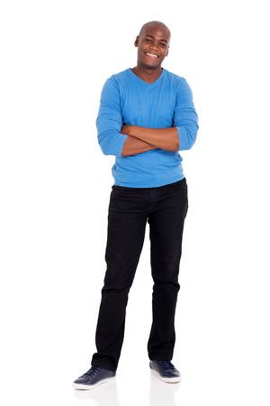 cuerpo hombre: retrato de cuerpo entero del hombre afroamericano de pie en blanco Foto de archivo