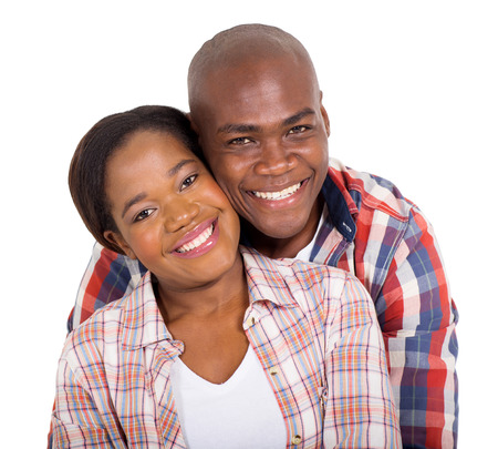 close: close up portrait of happy young african couple on white background