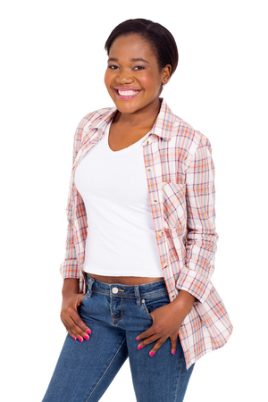portrait of happy young african american girl on white background