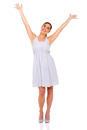 arms open: cheerful woman arms open isolated on white