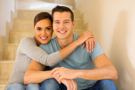 house family: lovely married couple relaxing at home Stock Photo