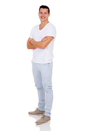 good looking: good looking man with arms folded isolated on white