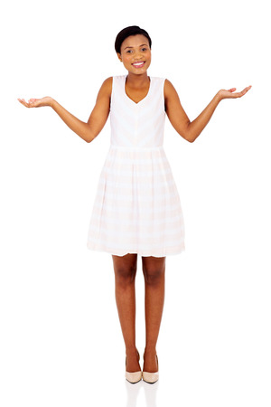 not open: beautiful african woman making do not know sign on white background