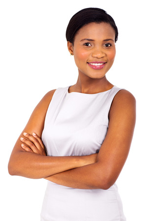 woman dress: portrait of happy african corporate worker on white background