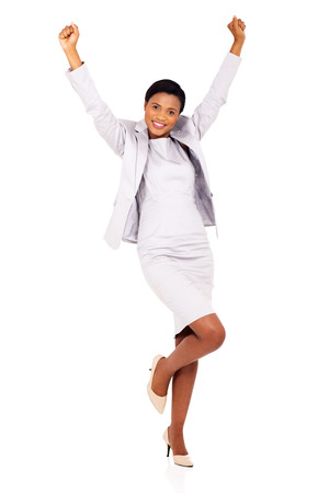 happy african woman: excited african businesswoman celebrating success isolated on white
