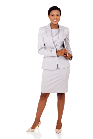 executives: pretty afro american businesswoman holding laptop computer isolated on white background