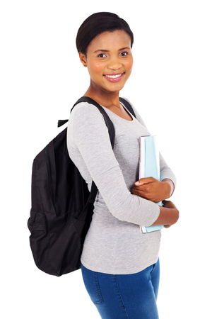 portrait of pretty african college girl holding a book