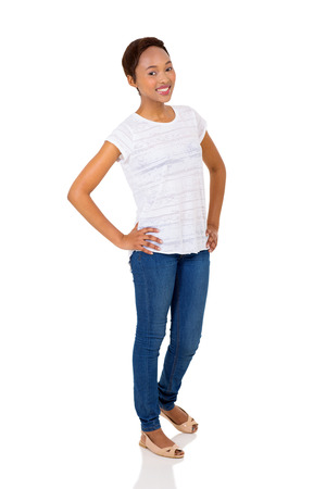 charming woman: beautiful young african american woman standing on white background