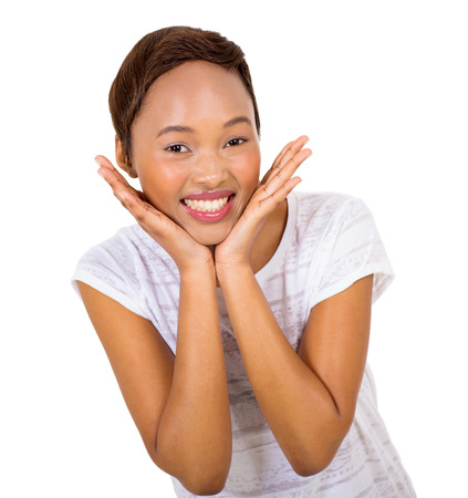 african american woman: close up portrait of happy young african american woman