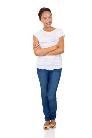 ethnic woman: cheerful young african american woman with arms crossed Stock Photo