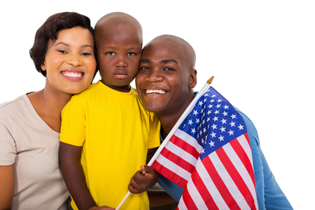 family isolated: afro american family with usa flag isolated on white background