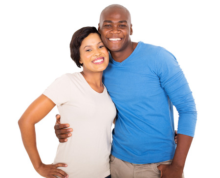 african american couple: cute african couple isolated on white background