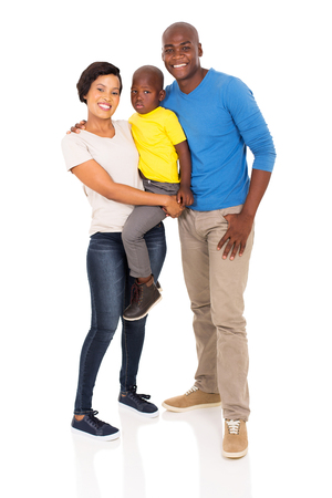 family together: full length portrait of happy young african family isolated on white