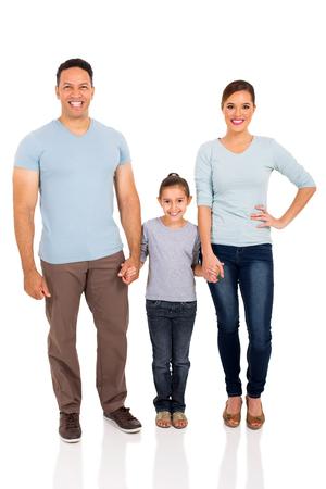 Glückliche Familie Hand in Hand auf weißem Hintergrund Standard-Bild - 50864638