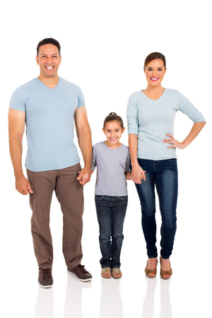 family isolated: happy family holding hands on white background