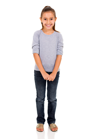portrait of cute little girl on white background
