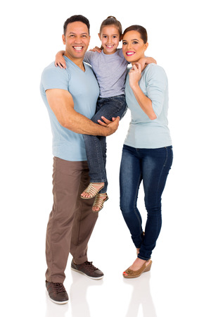 full length portrait of happy young family isolated on white