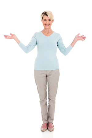 arms open: portrait of happy mid age woman arms open Stock Photo
