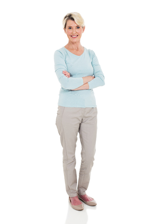 happy senior woman arms crossed isolated on white