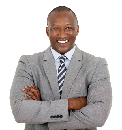 happy african businessman with arms crossed