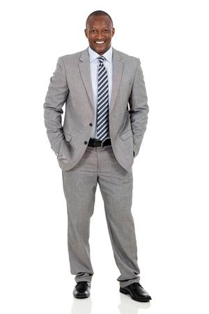 happy african american businessman standing on white background Foto de archivo