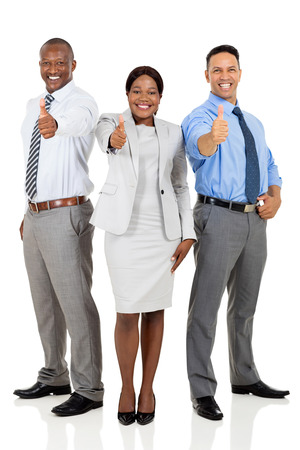 co workers: multiracial business team giving thumbs up isolated on white