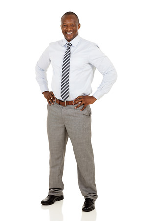 cheerful african american businessman posing on white background Stock Photo