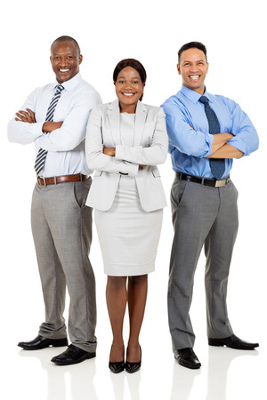 co workers: confident multiracial business group arms crossed