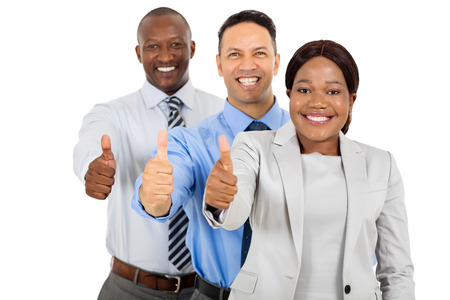 professional business group giving thumbs up on white background