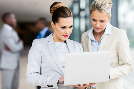 portrait of professional businesswomen working together on laptop