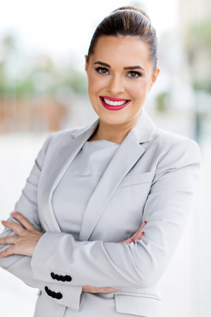 portrait of young beautiful businesswoman in office