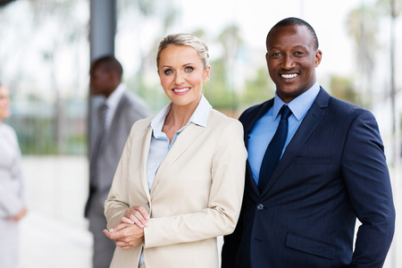 portrait of happy multiracial business partners