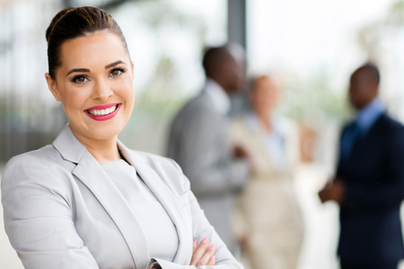 beautiful young businesswoman portrait in office Stockfoto
