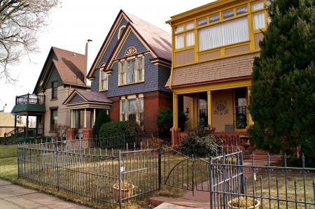 Denver, Colorado, USA - Jan 26, 2013 - Colorful row of downtown Denver residential houses Editorial