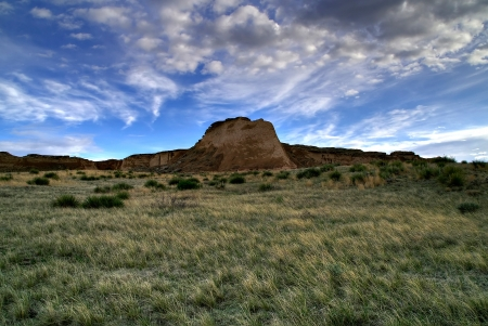 Pawnee Buttes Evening Sky Stock Photo