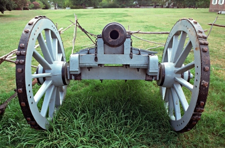 Williamsburg, Virginia, USA - Aug 09, 2002 - This is a muzzle end view of a cannon at Colonial Williamsburg Virginia. This is one of many on display at this theme park.