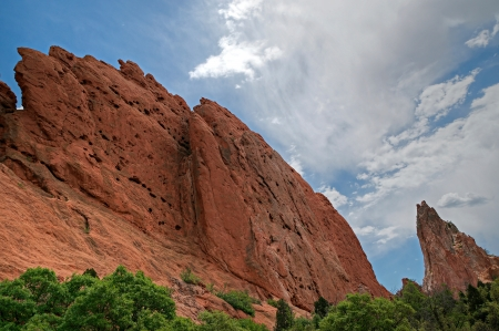 Pulpit Rock and Cathedral Spires at Garden of the Gods Stock Photo