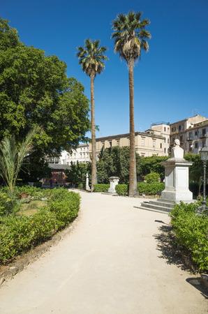 palermo   italy: Palm trees in Giardino Garibaldi Villa, Palermo, Italy