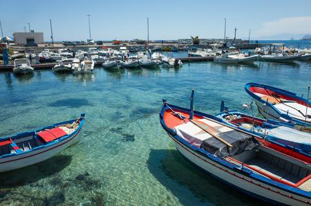 palermo   italy: Boats in Mondello, near Palermo, Italy
