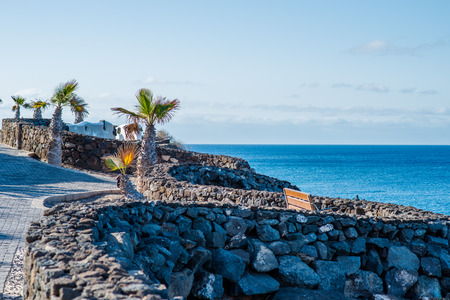 blanca: Promenade of Playa Blanca, Lanzarote Stock Photo