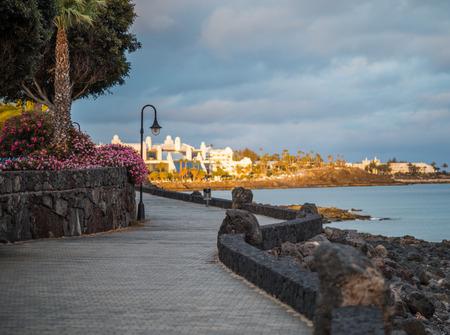 Sunset on the promenade of Playa Blanca, Lanzarote