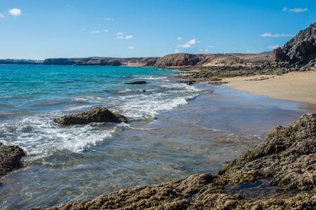 Lava stones on Playa de Papagayo, Lanzarote Stock Photo
