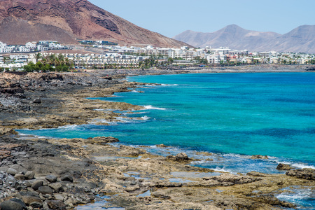 playa blanca: Shore of Playa Blanca, Lanzarote Stock Photo
