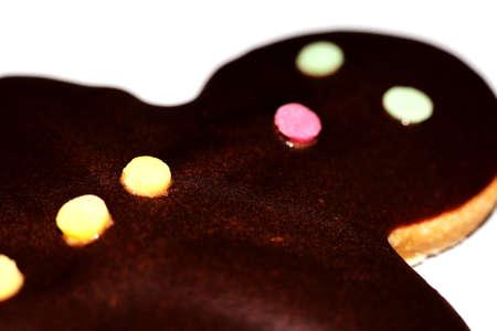 Christmas , chocolate gingerbread man - macro photography