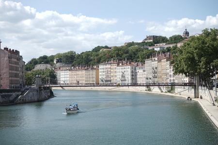 medium shot: river in Lyon on a summer day medium shot