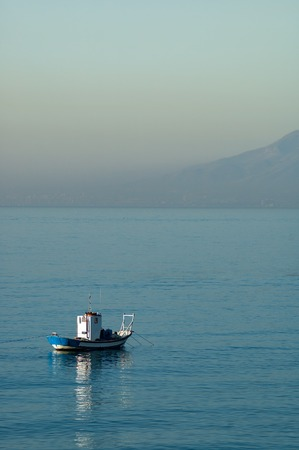 Traditional fishing boat in the Mediterranean sea Standard-Bild