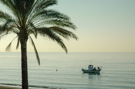 Traditional fishing boat in the Mediterranean sea