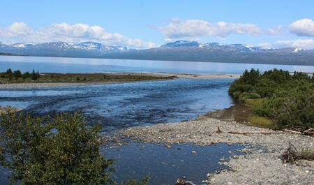 Overview of Kungsleden river in the arctic tundra. Abisko national park, Nothern Sweden
